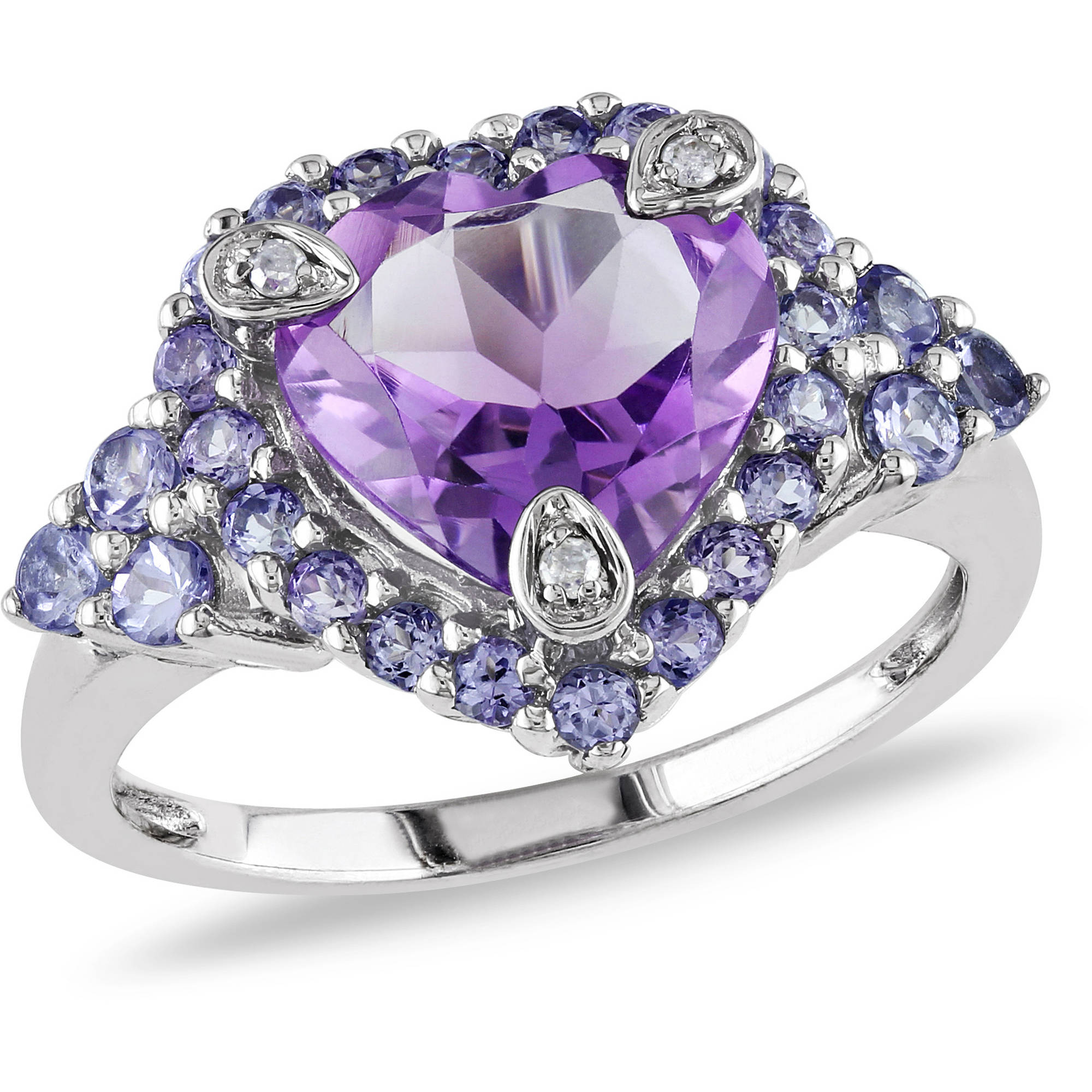 3 Carat T.G.W. Amethyst, Tanzanite and Diamond-Accent 10kt White Gold Heart Ring