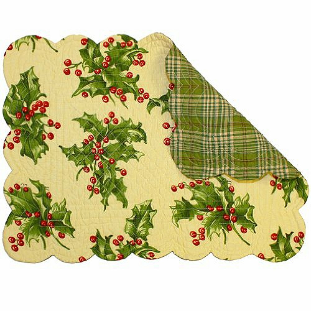 Holly Cream Reversible Rectangle Placemat By, By April Cornell