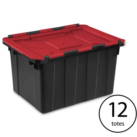 Sterilite 12 Gallon/45 Liter Hinged Lid Industrial Tote, Red Lid (12 (Industrial Lunch Box)