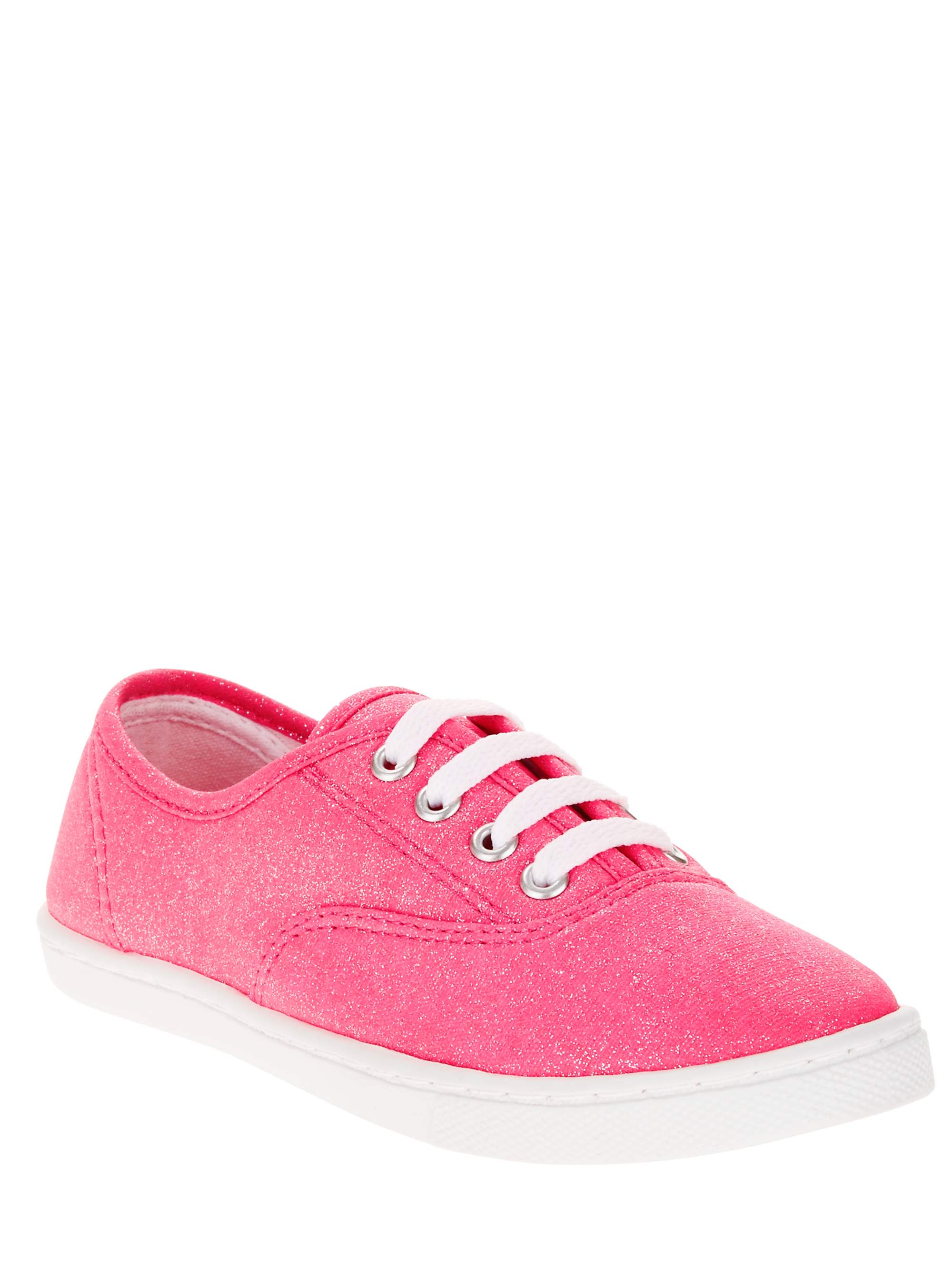 NEW Youth Girls Faded Glory Hot Pink Glitter Canvas Sneakers Shoes Size 5