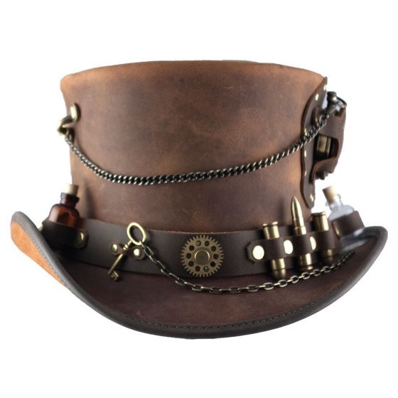 New American Hat Makers Time Port Mid-Crown Leather Top Hat