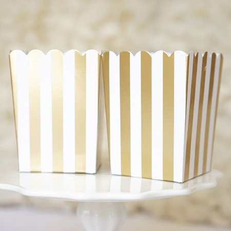 Gold and White Stripes Popcorn Favor Boxes Gift Boxes- Set of 10 (Halloween Popcorn Gifts)