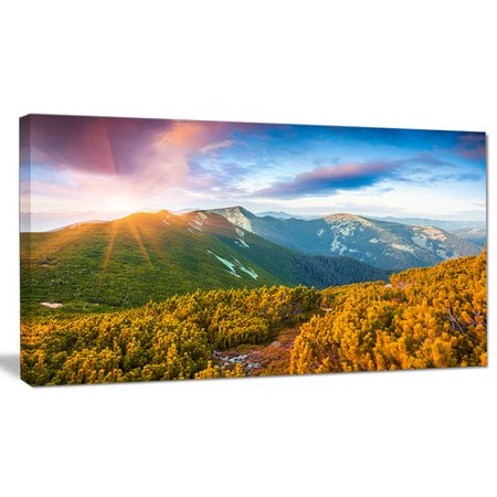 Design Art Bright Sunrise In Carpathian Mountains Photographic Print On Wrapped Canvas