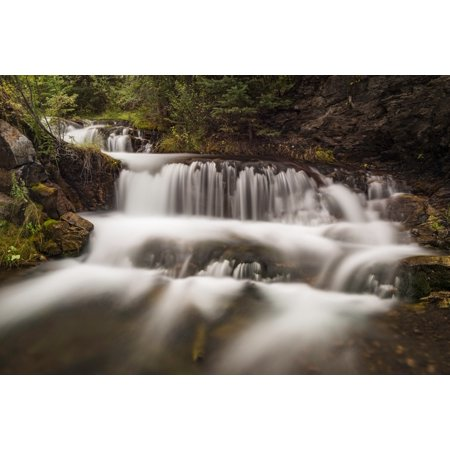 - Cascading waterfall Hidden Falls Canmore Creek Canmore Alberta Canada Canvas Art - Panoramic Images (18 x 24)