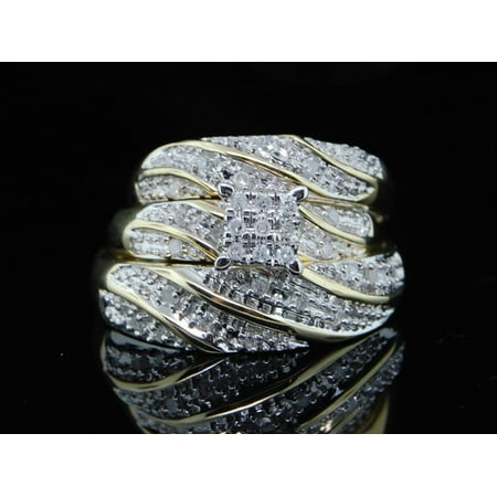 Mens Ladies 14K Yellow Gold Diamond 3 Ring Trio Set Wedding Band 0.30 Ct. 14k Diamond Trio Set