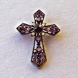 Platinum-Plated Swarovski Crystal Enamel Cross Pin  Brooch (1 2 x 3 1 4) Gift Boxed by