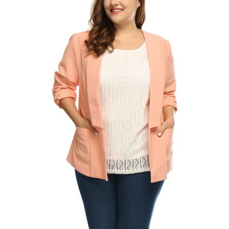 Women's Plus Size 3/4 Sleeves Shawl Collar Ruched Cuffs (Cuffed Blazer)
