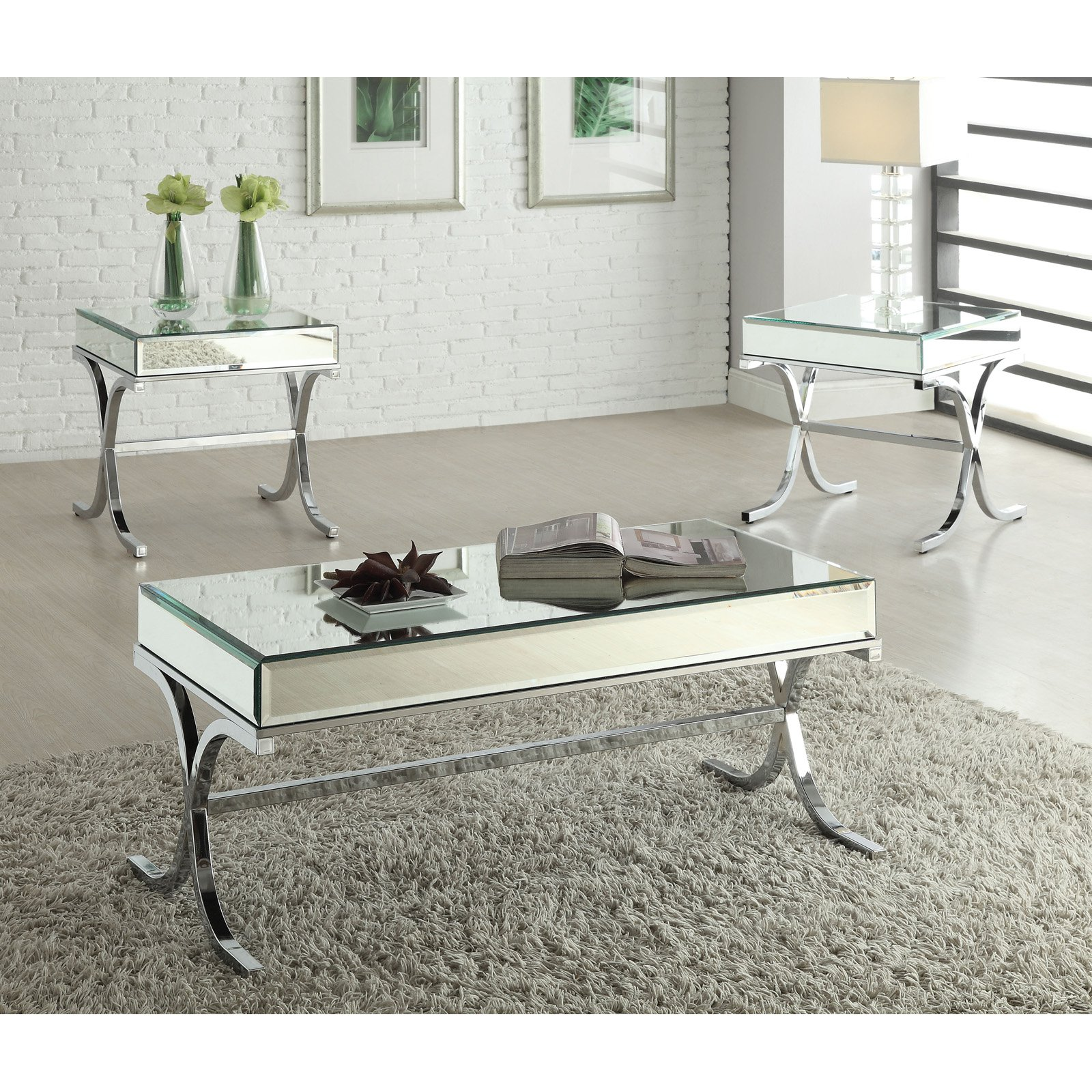 Chrome Chest Coffee Table: Acme Furniture Yuri Mirrored Top And Chrome Coffee Table