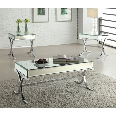 Acme Furniture Yuri Mirrored Top and Chrome Coffee Table ()