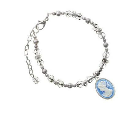 Silvertone Small Blue Oval Cameo Clear Beaded Bracelet Clear Small Stone Bracelet