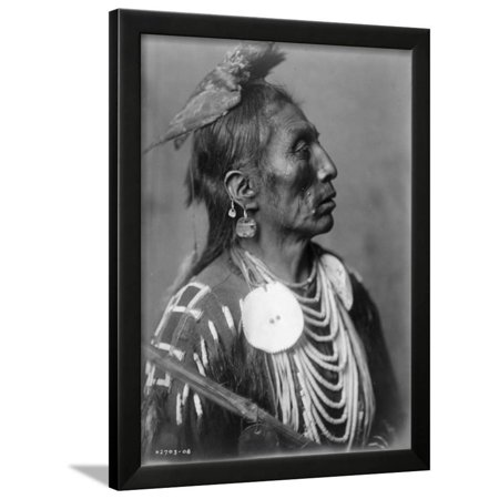 Crow Indian from Montana Native American Curtis Photograph Framed Print Wall Art By Lantern Press