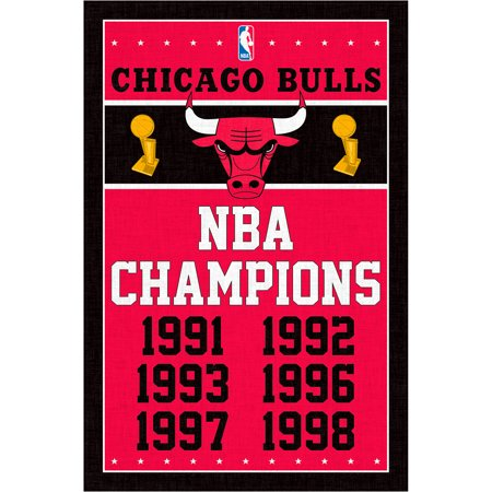 Chicago Bulls 22.4'' x 34'' NBA Champions Poster - No Size (Chicago Bulls Poster)