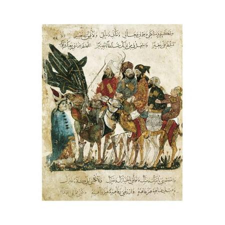 Caravan of Arabic Traders, Arab Miniature from the Maqamat Print Wall Art ()
