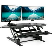 VIVO Black Corner Standing Height Adjustable Cubicle Sit to Stand Tabletop Desk Riser