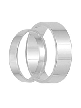 Product Image His And Hers Flat Sterling Silver Wedding Band Set Matching Rings For Him Her