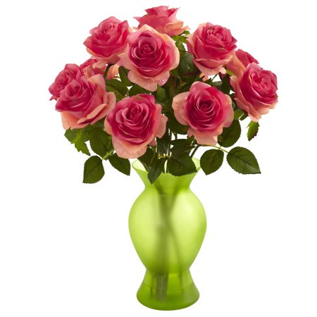 Roses With Colored Glass Vase Walmart