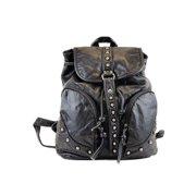 Girls Black Stud Detail Zippered Pocket Faux Leather Backpack
