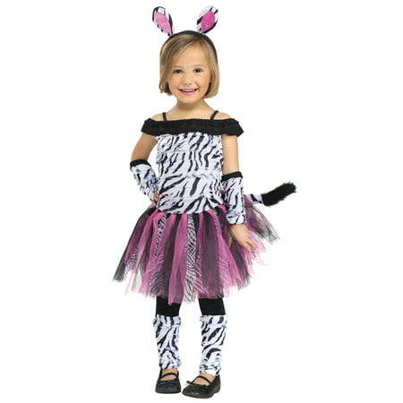 Toddler Girls Baby Pink Zebra Off Shoulder Tutu Dress Up Halloween Costume
