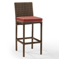 Crosley Furniture Bradenton Outdoor Wicker Bar Height Stools (Set of 2) with Sangria Cushions