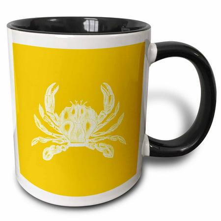 3dRose White crab. Golden gold yellow. Nautical beach sea ocean marine animal - Two Tone Black Mug, 11-ounce