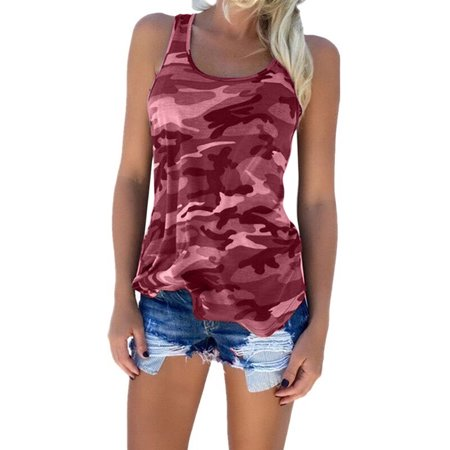 Sexy Tank Tops For Women Plus Size Round Neck Camouflage Print Sleeveless Vest Casual Loose Summer T Shirt Blouse Tops