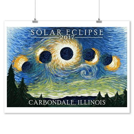 Carbondale Illinois Halloween (Carbondale, Illinois - Solar Eclipse 2017 - Starry Night - Lantern Press Artwork (9x12 Art Print, Wall Decor Travel)