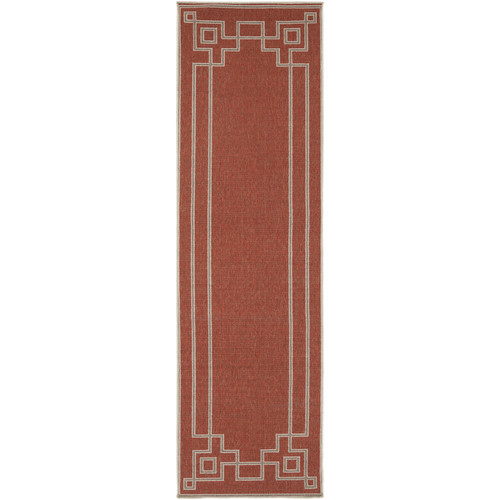 Charlton Home Minnie Cherry/Beige Indoor/Outdoor Area Rug