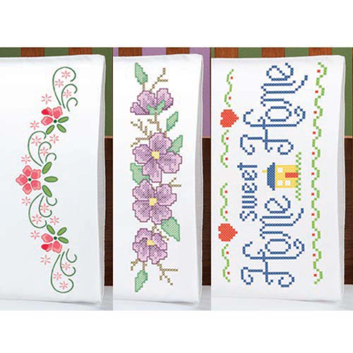 Herrschners® Pillowcase Trio—Special Value Stamped Embroidery