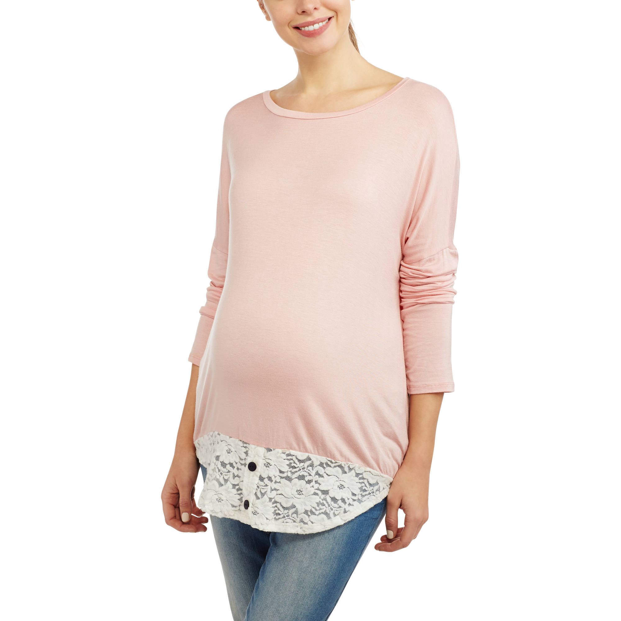 Mommylicious Maternity Lace Accent Plus Maternity Dolman