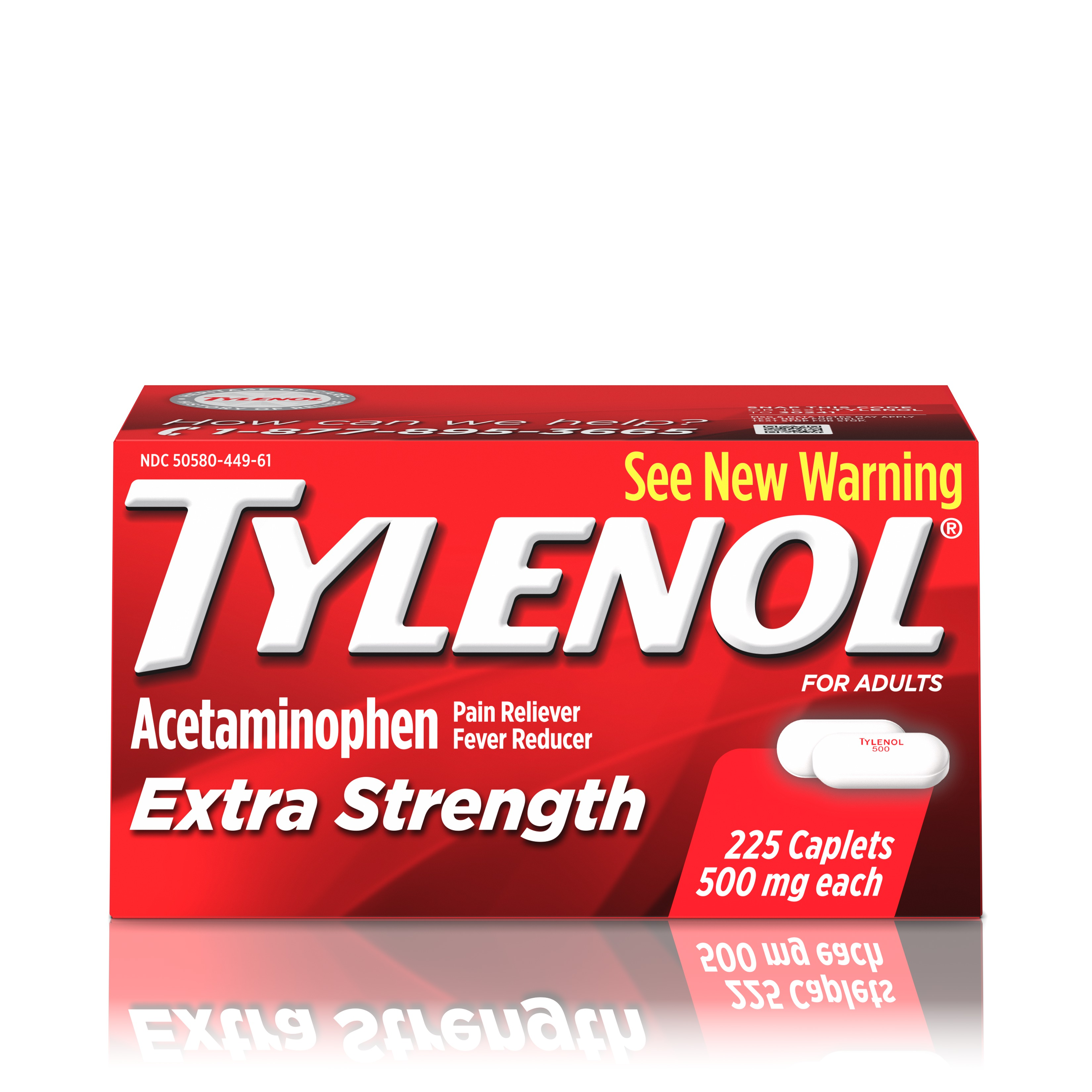 Tylenol Extra Strength Caplets, Fever Reducer and Pain Reliever, 500 mg, 225 ct.