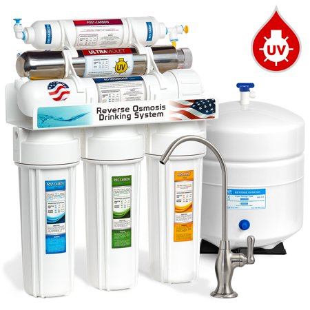 Express Water 6-Stage Reverse Osmosis Drinking Water Filter System with Ultraviolet (UV) Light Sterilizer, 50 GPD, Brushed Nickel Faucet (Deluxe) (Water Filter With Uv Light)