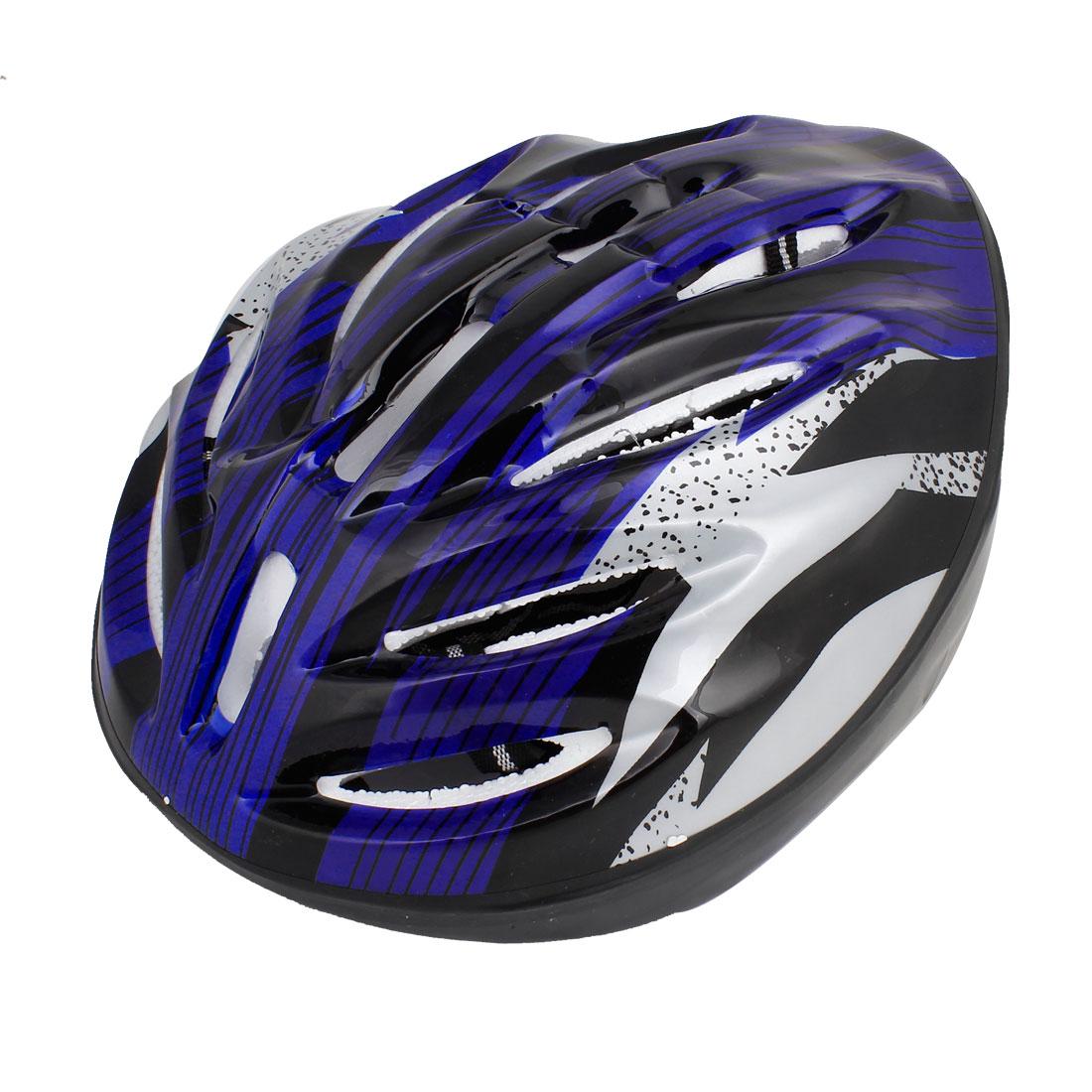 Unique Bargains Women Men Skateboard Skiing Racing Bicycle Bike Sports Helmet Blue Stripe by