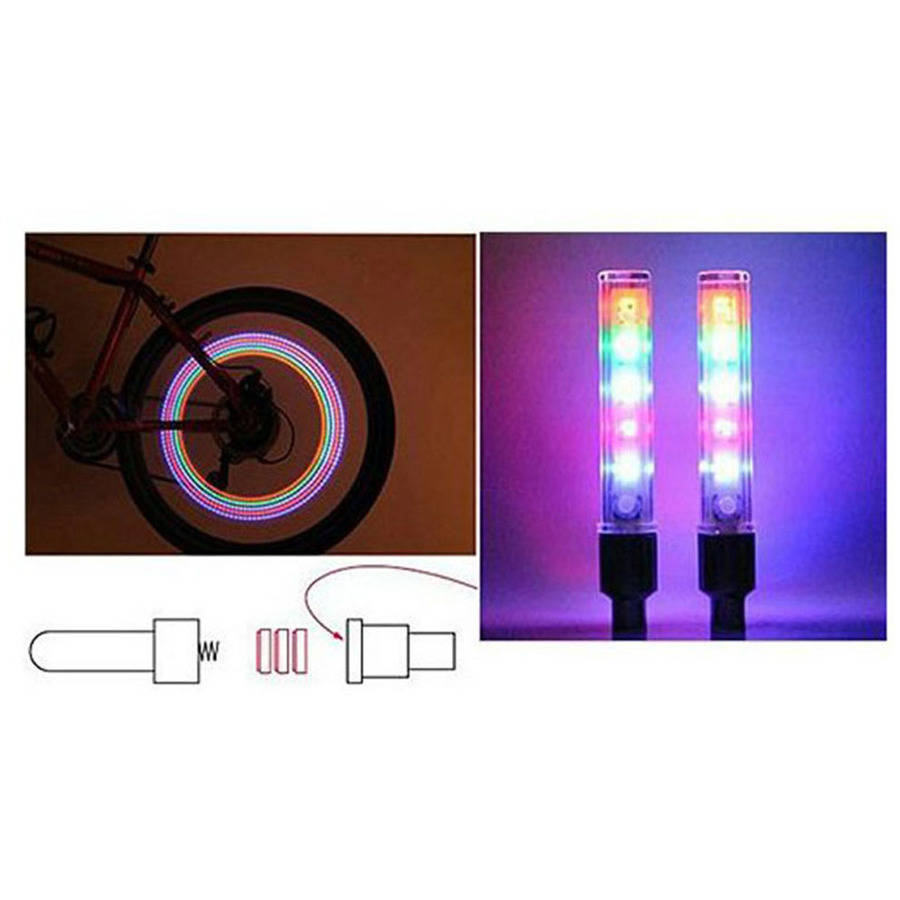 Etcbuys Multi-Color LED Bike Lights, 2-Pack