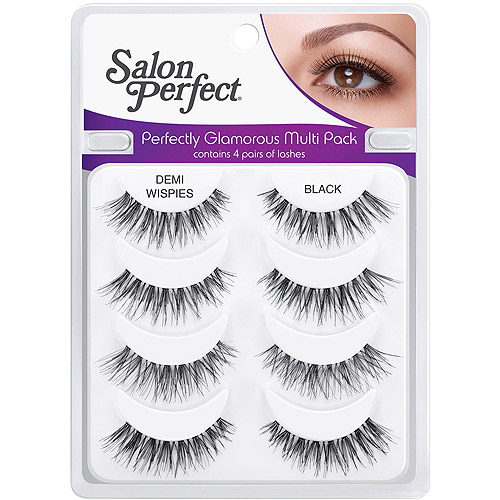 Salon Perfect Perfectly Glamorous Multi Pack Eyelashes, Demi Wispies Black, 4 pr