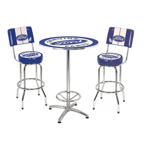 Ford Genuine Parts Bar Stool And Cafe Table Set 2 Stools Chrome Blue White Walmart Com Walmart Com