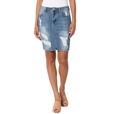 TheMogan Women's Med Wash Distressed Ripped Stretch Jean Mini Short Denim Skirt