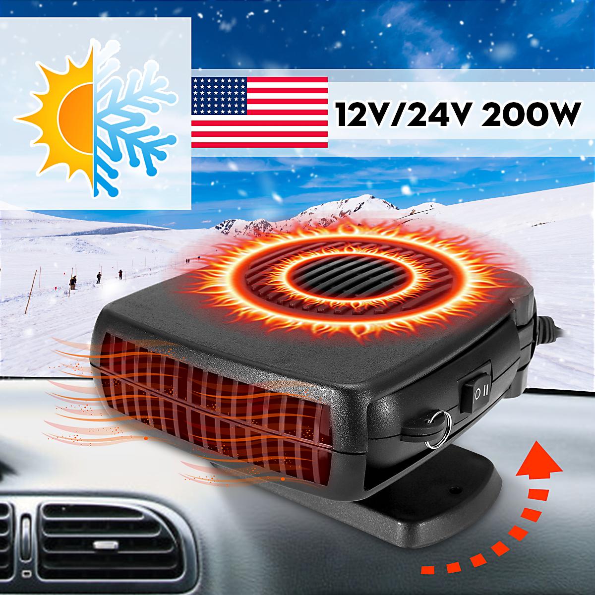 12V /24V 150-200W Portable Car Fast Heating Cooling Fan Windscreen Demister Cold Wind/Hot Wind For Car Vehicle