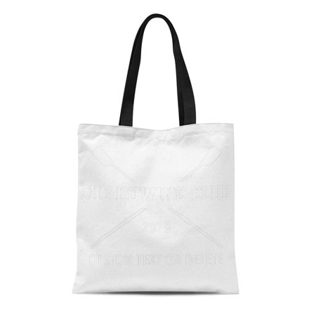 LADDKE Canvas Tote Bag Blue Water Personalized Crew Rowing Oars Team Name Year Reusable Handbag Shoulder Grocery Shopping Bags
