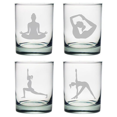 Susquehanna Glass Yoga Poses Stemless Wine Glass (Set of 4)