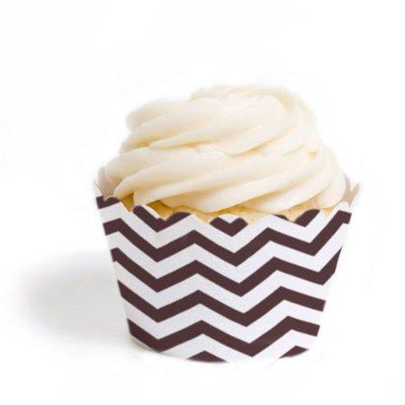 Dress My Cupcake Mini Cupcake Wrappers, Chevron, Brown, Set of 18