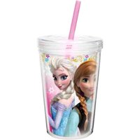 Zak! Designs Insulated Tumbler with Screw-on Lid and Straw featuring Elsa & Anna from Frozen, Break-resistant and BPA-free Plastic, 13 oz.