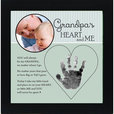 """Baby Keepsake Handprint and Photo For Grandpa 8"""" x 8"""" Black Frame With Ink"""