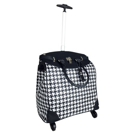 TrendyFlyer Computer Laptop Rolling Bag 4 Wheel Case Houndstooth Black