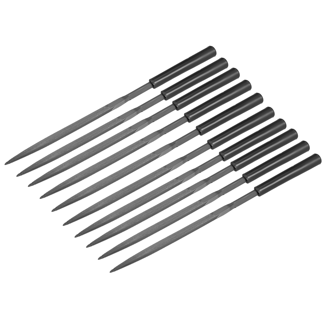10Pcs Second Cut Steel Triangular Needle File with Plastic Handle, 5mm x 180mm