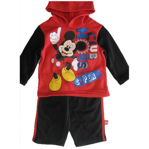 Disney Baby Boys Red Black Mickey Mouse Club Print Hooded 2 Pc Pants Set 18M