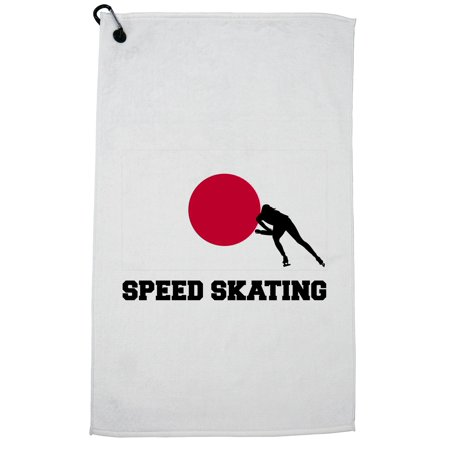 Japan Olympic - Speed Skating - Flag - Silhouette Golf Towel with Carabiner Clip Olympic Speed Skating