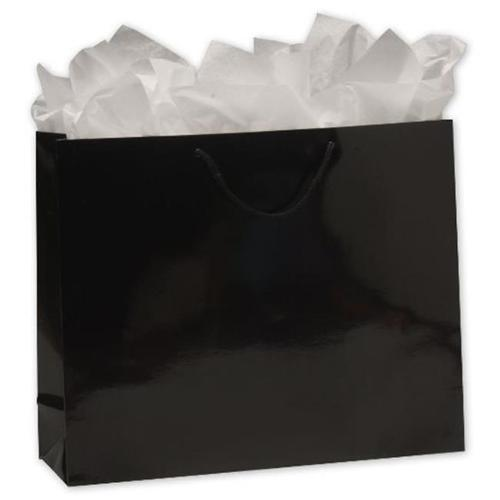Bags & Bows by Deluxe 244-160413C-12 Black Gloss Laminated Euro-Shoppers - Case of 100