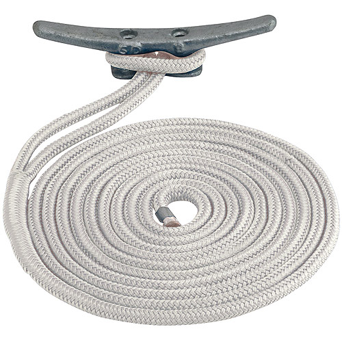 "Sea Dog Dock Line, Double Braided Nylon, 1/2"" x 25', White"