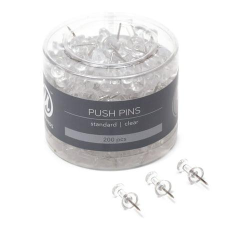U Brands Push Pins, Clear Plastic Head, Steel Point, 200 - Pumpkin Push Pins