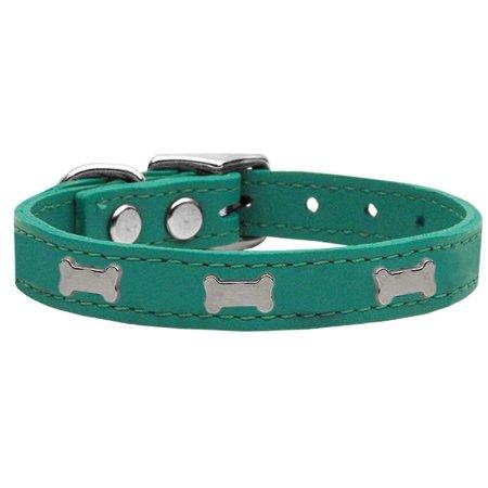 Silver Bones Leather Collar (Silver Bone Widget Genuine Leather Dog Collar Jade 16 )